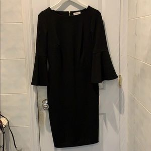 Calvin Klein Black Flute Sleeve Dress